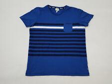 Adidas NEO Logo Short Sleeve Pocket T-Shirt Blue Stripes Men's Medium Cotton