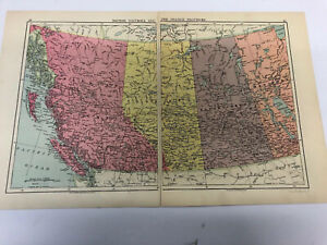 Map 1935: British Columbia And The Prairie Provinces, Canada(East) United States