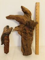"2 Hand Carved Wooden Wizard Tree Spirit Wood Carving Wall Art 16"" & 11"" Signed"