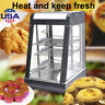 """15"""" Commercial Food Warmer Court Heat Food Pizza Warmer Cabinet Glass Display US"""