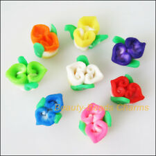 12 New Charms Polymer Fimo Clay Flower Leaf Spacer Beads Mixed 11x12mm