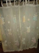 THE COMPANY STORE EMBROIDERED FAIRIES IVORY PINK SEMI SHEER (PAIR) PANELS 40X62