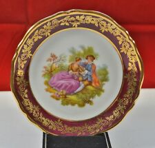 LA REINE LIMOGES PLATE FRAGONARD COURTING COUPLE SCENE