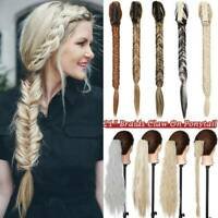 Ponytail Fishtail Braid Extensions Long Plaited Claw Clip on Ponytail Hairpiece