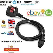 Kettle Lead Power Cable 3 Pin UK Plug PC Monitor TV Cord Pack of 10 Cables UK