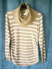 MICHAEL KORS New cowl neck sweater sz M toffee gold white striped metallic $110