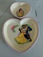 Vtg Beauty and the Beast Heart Shaped Plate Walt Disney Selandia Belle bowl set