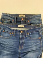 Lot of 2 Madewell Women's Blue Skinny Jeans Size 28 NEEDS REPAIR