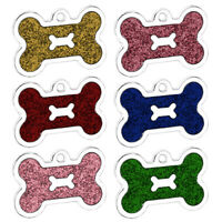 GLITTER BONE ENGRAVED DOG ID NAME TAG DISC PERSONALISED PET CAT IDENTITY TAGS