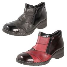 LADIES RIEKER PATENT LEATHER ZIP FASTENING FLEECE LINED CASUAL ANKLE BOOTS L4373