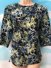 WAREHOUSE 12 Vgc Blue Green Print Longline 3/4 Sleeve Tunic Blouse Top