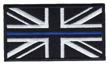 Thin Blue Line Union Jack Embroidered Patch-hook & Loop Backing Police UK