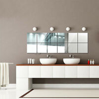 1set/16pcs Mirrors Mosaic Tiles Wall Stickers Square Home Room Decoration DIY
