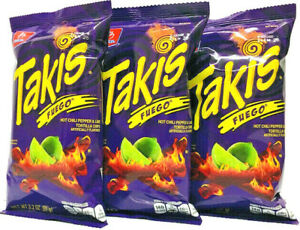 Takis Fuego Hot Chili Pepper & Lime Tortilla Chips Super Crunchy 3-Pack