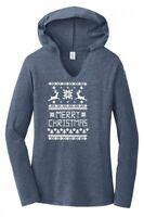 Merry Christmas Ladies Hoodie T-Shirt Reindeer Ugly Sweater Xmas Party Tee