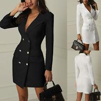 Women Short Bodycon Long Sleeve Double Breasted V-neck Work Dress Lapel Blazer