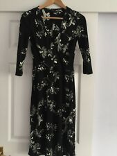 H&M WOMENS DESIGNER BLK CREAM WRAP STYLE SLIP DRESS SZ 36, 8-10 FLORAL STRETCHY