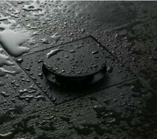 Black Brass Floor Drains 10cm Shower Floor Drain Bathroom Square Push Up Drainer
