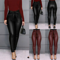 Women's Leggings PU Leather Pants Stretchy Skinny Pencil Trousers High Waist