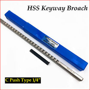 Keyway Broach Cutter 1/4 C Push Type Inch Size HSS Broach Cutting Tool & 1 Shim
