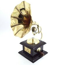 """9"""" GRAMOPHONE PHONOGRAPH ~ MINI ~ TOY~ SOLID BRASS AND WOOD. USA SELLER!!"""