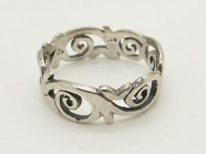 Fretwork 925 Sterling Silver Ring Curves Spirals Abstract Vintage UK Size T 1/2