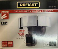 Defiant 270-Degree Bronze Motion Activated Outdoor LED Triple Head Flood Light