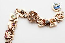 Antique 1950s $6000 14k Gold SLIDE Charm Bracelet Ladies Watch 7.5 60g