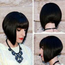 Natural Short Straight Bob Real Human Hair Wig with Fringe Bangs Black/Red