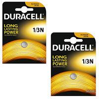 2 x Duracell 1/3N 3V Lithium Batteries DL 1/3 N CR1/3N Brand New