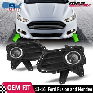 For 13-16 Ford Fusion Factory Bumper Fit Fog Lights + Wiring Kit Clear Lens
