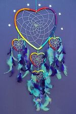 DREAM CATCHER LARGE RAINBOW LOVE HEART silver and beads BEAUTIFUL DREAMCATCHER