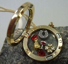 Damen Anhänger Gold Medaillon Floating charms Silvester Geld Glück und Kette NEU
