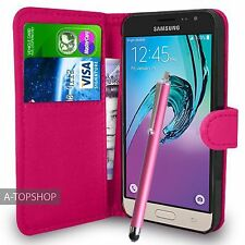 Pink Wallet Case PU Leather Book Cover For Samsung Galaxy J3 2016 Mobile Phone