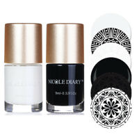 2Pcs 9ml Black White Nail Stamping Polish Nail Art Stamp Varnish Nicole Diary