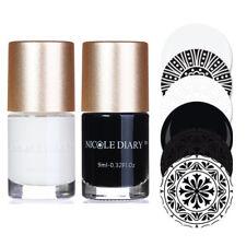 2Pcs 9ml Black White Nail Stamping Polish Nail Art Stamp Varnish Nicole Diary