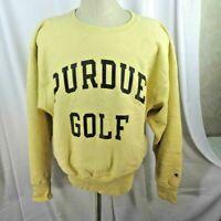 Vintage Champion Sweatshirt Men Size L Purdue Golf Reverse Weave Crewneck Yellow