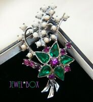 EARLIER VINTAGE SUFFRAGETTE COLOURS RHINESTONE CRYSTAL FAUX PEARL FLOWER BROOCH
