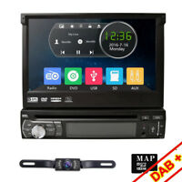 "7"" Touch Screen 1 Din Flip Up Car DVD Player GPS Sat Nav Radio Bluetooth Stereo"