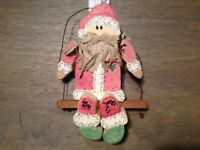 """1993 COUNTRY Americana CHRISTMAS Santa Ornament WOOD 7"""" ON WIRE"""