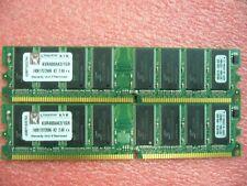 1GB Lot, QTY 2x 512MB DDR 400Mhz PC3200U non-ECC desktop memory Brand Kingston