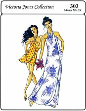 Hawaiian Style Pareau / Sarong  Wrap Dress  Victoria Jones Sewing Pattern XS-3X