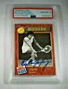 Rare 1990 BILLIE JEAN KING Signed SI for Kids Card-Tennis-PERFECT PSA 10 Auto