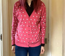 🧸 Woolovers Silk & Wool Pink White Polka Dot Cardigan V Neck Jumper 10 12 14