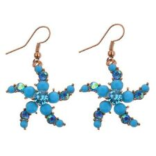 pendientes largos estrella de mar dorada strass azul turquesa etnico boho tribal
