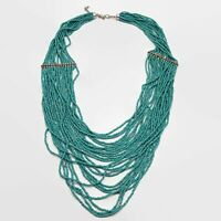 Turquoise Blue Seed Bead Multi-Strand Drape Necklace