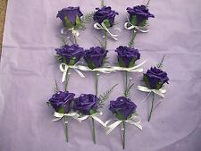 cadbury purple 10 buttonholes with fern