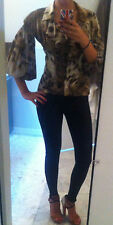 Just Cavalli blouse v neck button front S animal print zara
