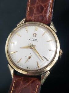 Omega Solid 14k Yellow Gold Automatic Cal. 344  Mens vintage Watch Ref F6516
