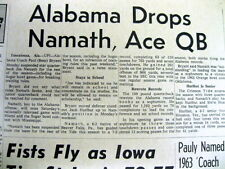1963 newspaper UNIVERSITY of ALABAMA suspendsQB JOE NAMATH from 2 football games
